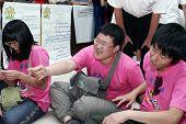 Ashgabat, Turkmenistan - August 4:  An Unidentified   Laughing Group Of Korean Children. Children's