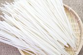 close - up Asian food , dried rice noodles