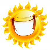 Extremely Happy Yellow Smiling Sun Cartoon Excited Character