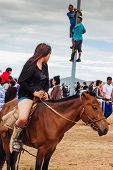 Horseback Girl In Shorts, Nadaam Horse Race