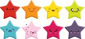 image of kawaii  - Set of 8 super cute Kawaii stars with different expressions - JPG