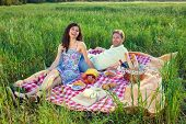 Laughing Vivacious Couple On A Summer Picnic