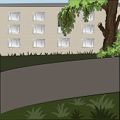 Illustration of city landscape in the daytime: tree, house, sidewalk and grass lawn