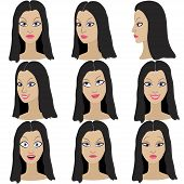 Set of variation of emotions of the same girl with black hair.