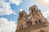 Facade Of Notre Dame De Paris Cathedral, France