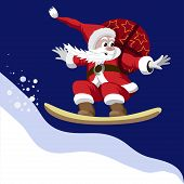 Santa Claus carrying a bag of gifts on a snowboard
