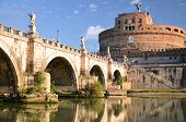 Majestic Castle of Saint Angel over the Tiber river in Rome, Italy.
