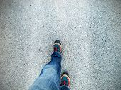 picture of street-walker  - Concept picture of legs walking on asphalt - JPG