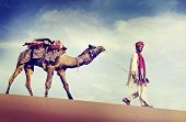 Indian Man Camel Desert Travel Concept