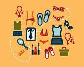 flat fashion icons set