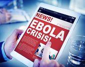 Businessman Holding Tablet Ebola News Concept