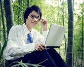 Businessman Working Outdoors Nature Concept