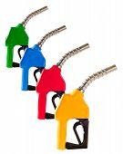 Four Colored Fuel Pump Nozzles
