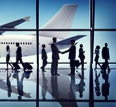 Business People Travel Handshake Airport Concept
