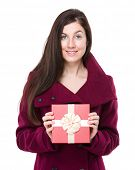 Woman hold with red gift box