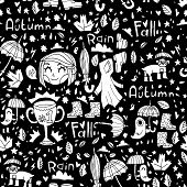Black and white cute autumn pattern.