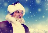 Cheerful Santa Claus Snowing Winter Concept
