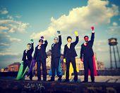 Superhero Businessmen Industrial Outdoor Concept