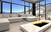 3D Rendering of Open Fireplace at Elegant Architectural Living Room Design with Transparent Glass Walls.