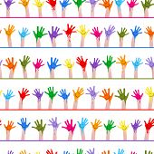 colorful hands with smiling faces seamless pattern