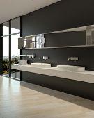 3D Rendering of Elegant Architectural Interior White Sinks Design on Black Plain Wall.