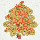 Have a Holly Jolly Christmas. Beautiful holiday card in vector