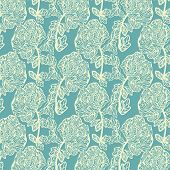 Seamless vintage floral pattern with a peony  flowers
