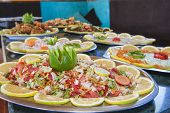 Collection Of Food Dishes At Buffet
