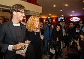 MOSCOW - OCTOBER,7 : Singer Alla Pugacheva and M. Galkin. Premiere of the movie Solnechny Udar, October,7 , 2014 at Octyabr Cinema in Moscow, Russia