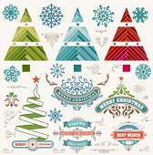 Christmas decoration design elements. Merry Christmas and happy holidays wishes. Vintage labels, frames, ornaments and ribbons, set.