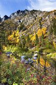 Fall Yellow Red Green Colors Reflection Wenatchee River Valley Near Stevens Pass Leavenworth
