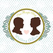 Vector Just married Silhouette in Vintage Frame