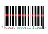 Scanning Great Opportunities Barcode Macro Closeup Isolated On White