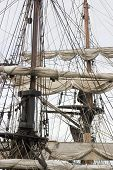 pic of sail ship  - Old sailing ship masts and sails and rigging - JPG