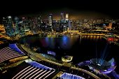 stock photo of singapore night  - View of Singapore city skyline at night - JPG