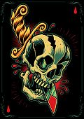 stock photo of dead-line  - Skull and Dagger in Tattoo flash design style - JPG