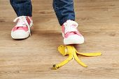 picture of slip hazard  - Shoe to slip on banana peel and have an accident - JPG
