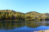 pic of kan  - Autumn landscape with the river near the city of Kan Zelenogorsk - JPG