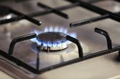 Gas burner with flame on gas cooker