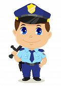 image of kiddie  - Cute cartoon illustration of a policeman isolated on white - JPG