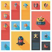 Halloween Flat Ui Background Set