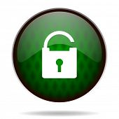 padlock green internet icon