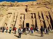 Tourists At The Temple Of Hathor/nefertari At Abu Simbel, Egypt
