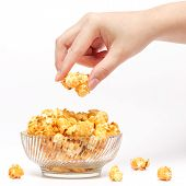 Hand Picking Caramel Popcorn Filled In Crystal Clear Bow
