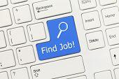 White Conceptual Keyboard - Find Job! (blue Key)
