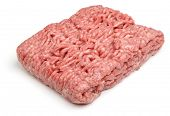 Fresh ground lamb meat or mince on white background.
