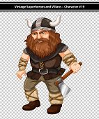 illustration of a male viking with an axe