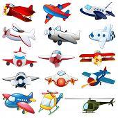 illustration of different kind of planes