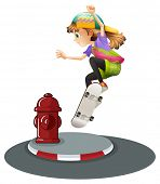 illustration of a girl skateboarding on the road