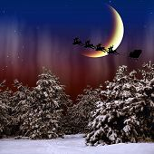 Santa Claus is flying in the Christmas night on the snow-covered forest